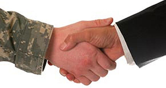 military civilian handshake